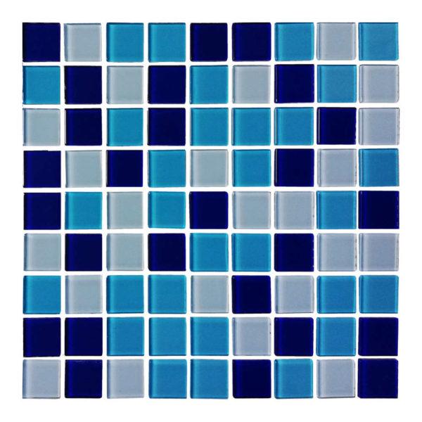 Azulejo Cristalo Vitreo Mezcla de Azules Mosaico 2.5 x 2.5 cm